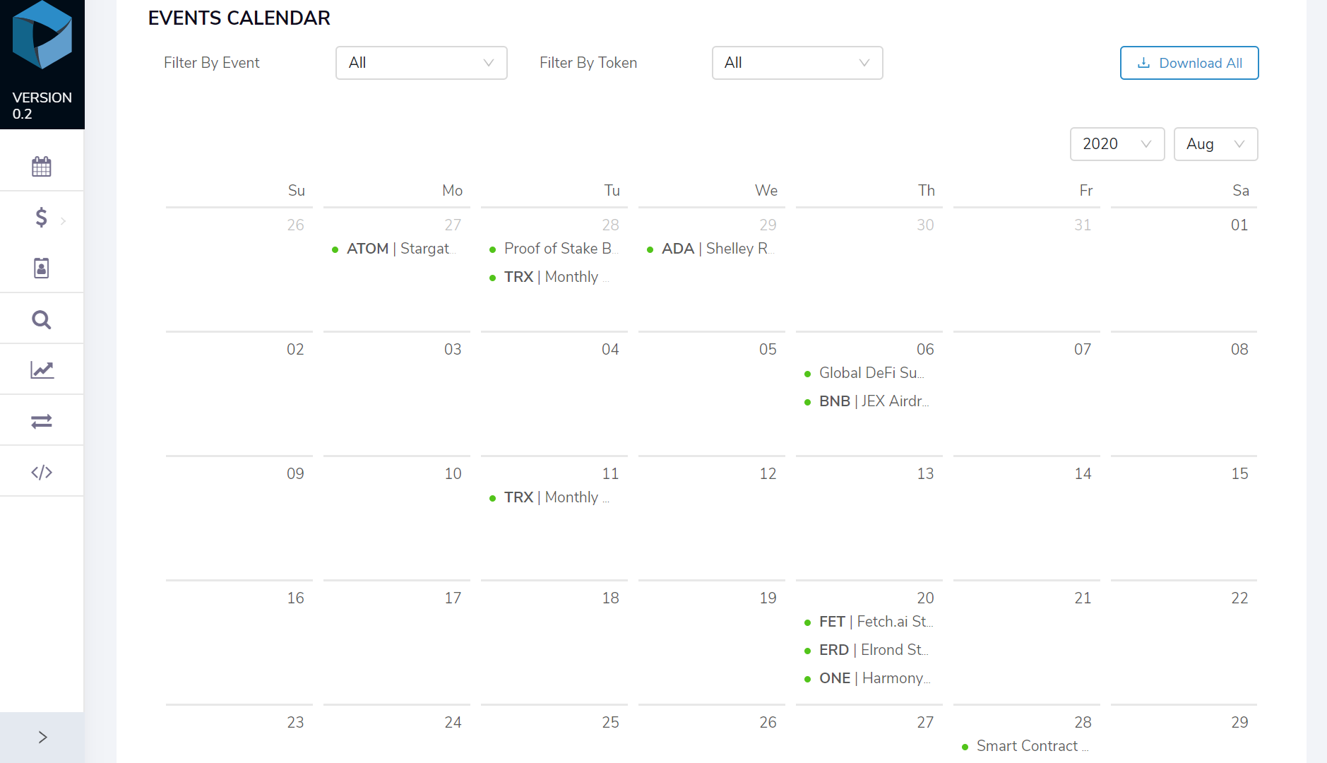 Image of the DAR Crypto Events Calendar